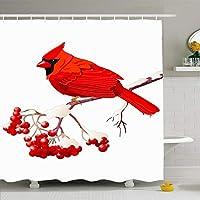 クリップアート雪赤枢機Bird鳥座っている山のアート野生動物自然冬ベリーかわいいツリーデザインポリエステルシャワーカーテンフック付きクイックドライ48×72インチ