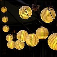 提灯ライト ATPWONZ ちょうちん 6.35M 30球 提灯 LEDストリングライト 電池式 防水 イベント お祭り屋台に装飾用 屋外 ハロウィン飾り付けライト 電球色 丸型