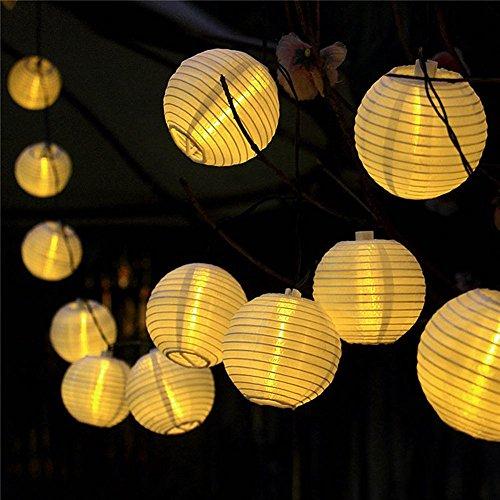 提灯ライト ATPWONZ ちょうちん 6.35M 30球 提灯 LEDストリングライト 電池式 防水 イベント お祭り屋台に装飾用 屋外 飾り付け 電球色 丸型