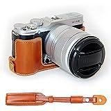 No1accessory XJD-XA2-D09 ブラウン Fujifilm X-A2 XA2 X-A1 XA1 専用 防水 PU レザー 一眼レフ カメラバッグ カメラケース ハンドストラップ + カメラストラップ