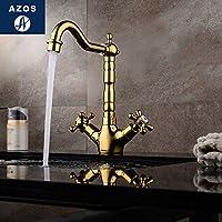 AZOSカウンター蛇口下優しい流域 真鍮 クロムコールド・ホット・スイッチ バスルーム 野菜シンクシャワー室 ラウンドMPDKF15