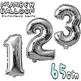 数字 バルーン 誕生日 シルバー ナンバーバルーン 65cm 風船 飾り付け サプライズ プレゼント 安い おもちゃ ぺたんこ配送