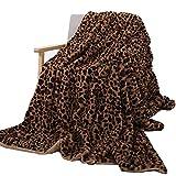Enipate 毛布 高級ブランケット 人造ウサギ毛 冷房対策 ひざ掛け ヒョウ柄 ふわふわ 掛け毛布 シングル 洗濯OK おしゃれ 二枚合わせ