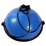 MRG バランス トレーナー 体幹 筋力 トレーニング [ゴムチューブ付属] 半球 バランスボール (ブルー)