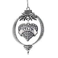 InspiredシルバーイタリアパヴェハートHolidayクリスマスTree Ornament withクリスタルラインストーン