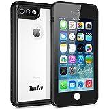 Temdan iPhone7 Plus iPhone8 Plus 防水ケース IP68規格 完全防水 防雪 防塵 薄型軽量 耐衝撃 長持ち ランニング用 アイフォン7プラスケース アイフォン8プラスケース 指紋認識可 キックスタンド フローティングストラップ 5.5インチ用(黒色&透明)