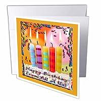 バースデーデザイン–紙吹雪とキャンドルHappy Birthdayからすべての米国オレンジ–グリーティングカード Individual Greeting Card