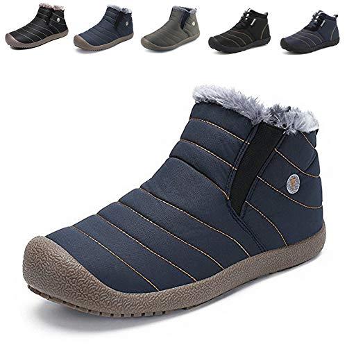 スノーシューズ レディース メンズ 防水 防寒 防滑の綿靴 雪靴 通学 通勤用(ブルー 24.5)