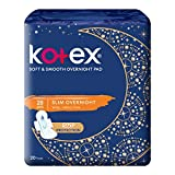 Kotex Soft and Smooth Slim Overnight Pads, 28cm, 20 count