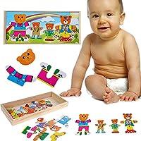 Greensun TMベビー子供教育面白いおもちゃBear Changing Clothes木製パズルおもちゃGood Gifts for Kids