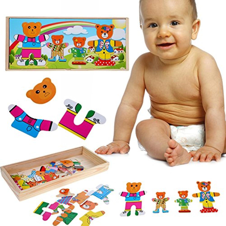 Demiawaking かわいい幼児 子供 教育教材 木のおもちゃ 知育/啓蒙 教育おもちゃ  ベア一家 自由に組み合わせ