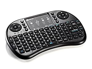 iClever 2.4GHz ワイヤレス ミニキーボード タッチパッド搭載 マウス一体型 ポータブル 小型キーボード 無線 USB レシーバー付き ( ブラック ) IC-RF02