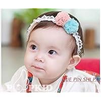 Baby ベビー用ヘアバンド ヘアアクセサリー 子供用【髪飾り】【バンド】伸縮性がある 赤ちゃんに最適!ピンク&ブルー 一枚入れ  並行輸入品