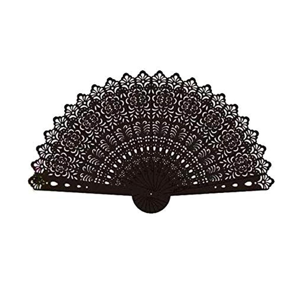 くるくる聞きます依存QIANZICAI ファン、鉄扇子、格闘技舞台の小道具、ホームアクセサリー、ブラック折りたたみ ファン (Color : Black)