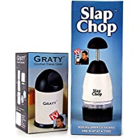 (Slap Chop + Graty) - Original Slap Chop Slicer with Bonus Cheese Graty - Stainless Steel Blades - Vegetable Chopper Gadget - Mini Chopper for Salads - Kitchen Accessory