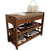 Zhen guoシェルフ竹靴ベンチ玄関ストレージとクッション付き、をドアのブラウン靴オーガナイザーラックW/引き出し廊下寝室用 L 70cm