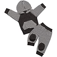 Seyouag Toddler Baby Boy Sweatshirt Long Sleeve Hoodie Striped Tops and Pants Fall Winter Outfit Set