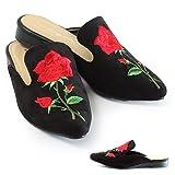 (ルームナイン) Room9 バラ 刺繍 ポインテッドトゥ スリッパ ミュール サンダル レディース サボ 黒 春 ローヒール (tw-32703) ブラックスエード Sサイズ