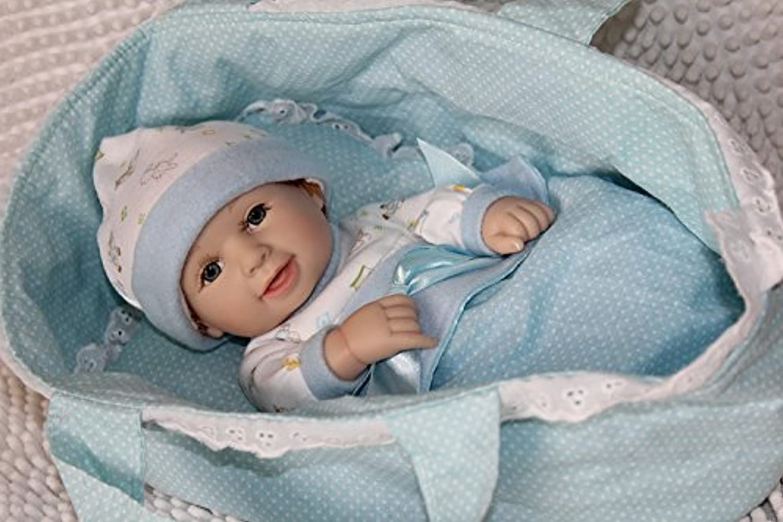 値スポーツNPKDOLL Mini LovelyソフトSiliconeビニールLifelike Realistic Rebornベビーガール人形with Cradle娘ギフトWeighted Baby 11インチ( 28 cm )ブルー