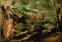 ¥5K-200k 手書き-キャンバスの油絵 - 美術大学の先生直筆 - 20 名画 - キリスト at Sea of Galilee イタリアの Tintoretto - 絵画 洋画 手描複製画 -01