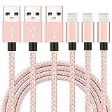 XIANDAN ライトニングケーブル 【3本セット 2M】 iPhone 充電ケーブル ナイロン編み USB 8pin データ転送 Lightning ケーブル iPhone X/8/8Plus/7/7 Plus/6/6 Plus/6s/6s Plus/5/SE/5s/iPad/iPod 対応 (ローズ)