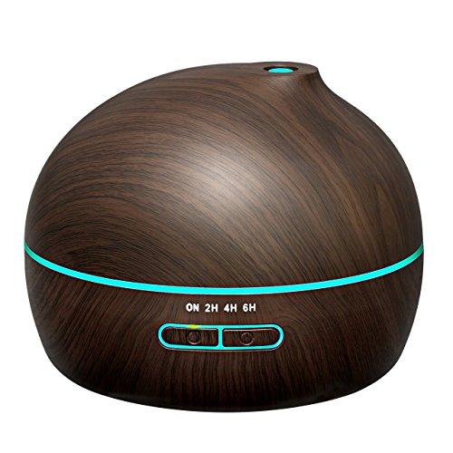 アロマディフューザー 超音波式 加湿器 300ML大容量 木目調 2/4/6時間設定可能 空焚き防止 会社/部屋/事務室など各場所用 12ヶ月間メーカー保証