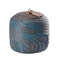 SzKing レトロな波テクスチャ - セラミックスティーコーヒーシュガーキャニスター、手作りのカンフーティーキャニスター封印された貯蔵タンク小茶缶茶葉の収納ケース (Color : Style1)