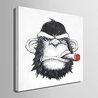 現代絵画 手描きの装飾画 インテリア装飾品(葉巻をくわえたオランウータン)壁掛け絵画 壁飾り 家の装飾100%手書きアートポスター 絵画 100% 純粋な手作りの絵画(OIL PAINTING) (60CM*60CM)
