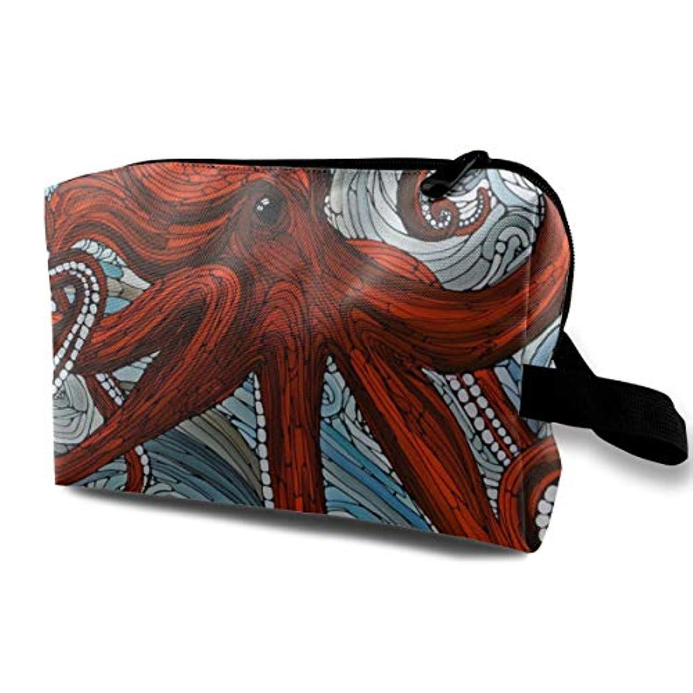 服落胆する歯科医Octopus 収納ポーチ 化粧ポーチ 大容量 軽量 耐久性 ハンドル付持ち運び便利。入れ 自宅?出張?旅行?アウトドア撮影などに対応。メンズ レディース トラベルグッズ