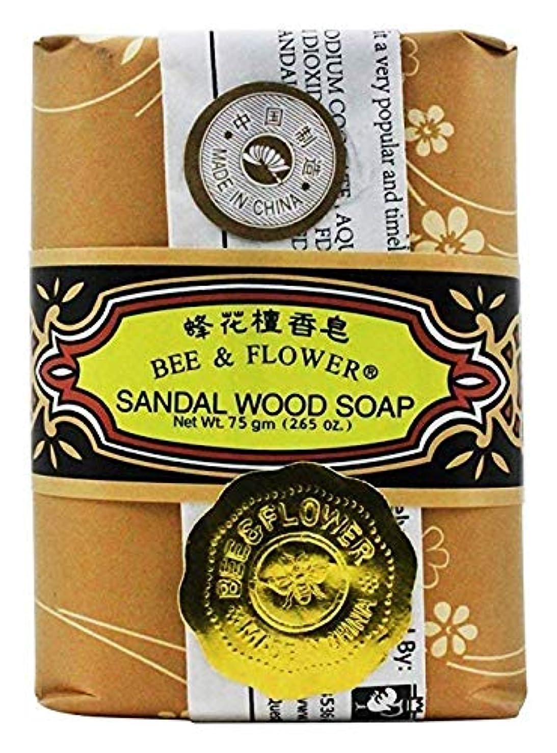 ビジョングリル大胆不敵海外直送品 BEE & FLOWER SOAP Bar Soap Sandalwood, 2.65 Oz