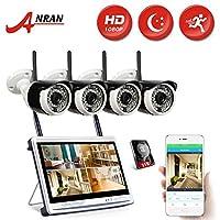 ANRAN ワイヤレス防犯カメラ 1080p 12インチモニター 4台  wifiカメラ 遠隔監視 ip66防水 動態検知 2TB付き