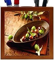 Rikki Knight Rustic Scene Olives and Olive Oil Design 5-Inch Wooden Tile Pen Holder (RK-PH8919) [並行輸入品]