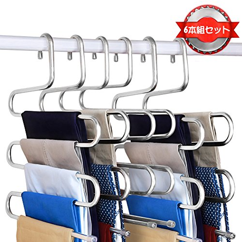 ズボンハンガーS字型 ステンレス 頑丈 滑り止め おしゃれに衣類収納 省スペース 6本組セット