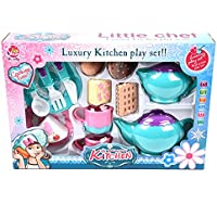 wallydeals Pretend Play Foodセットキッチンティーセット14 piece-play Foodアクセサリーブルー
