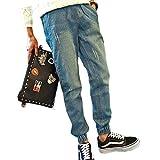 DUSTSTROKE (ダストストローク) メンズ デニム ジョガー パンツ スリム テーパード ( 小さい ) サイズ も S M L ブルー インディゴ ジーパン ズボン ジーンズ ズボン ストリート カジュアル きれいめ (ブルー S)
