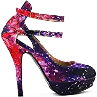 Show Story Multicolored Night Sky Mary Jane Cut Out Stiletto Party Pump,LF30451