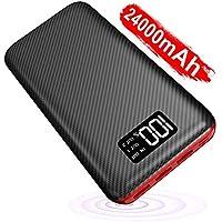 KEDRON モバイルバッテリー 24000mAh 大容量 QuickCharge LEDスクリーン残量表示 2USB入力ポート 3USB出力ポート Android/Apple/iPad等に対応 災害/旅行/アウトドアに適応