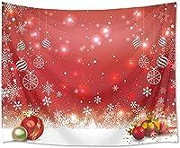JOOCAR クリスマスボールタペストリー壁掛けクリスマス壁赤クリスマススノーフレーク背景家の装飾アートタペストリー