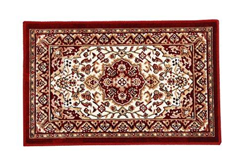 イケヒコ 玄関マット 洗える モケット織り 王朝柄 『メンデル』 ワイン 約50×80cm 滑りにくい加工 1枚