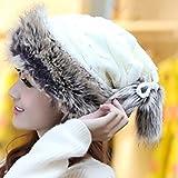 レディース ニット OSHIDE レディース ニット帽 姫様風 可愛い 暖かい ポンポン ニット帽 秋冬 帽子 防寒保温 フリーサイズ 厚手 自転車 スキー ニットスヌードとしても使える