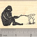 Bigfoot Camping Rubber Stamp, Yeti Roasting Marshmallows, Sasquatch