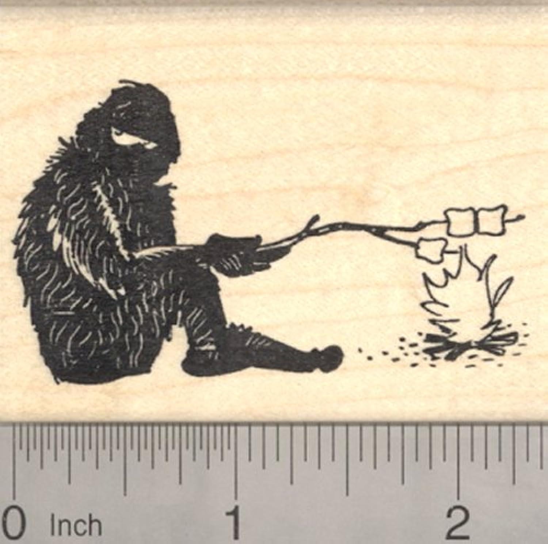 Bigfoot Camping Rubber Stamp, Yeti Roasting Marshmallows, Sasquatch