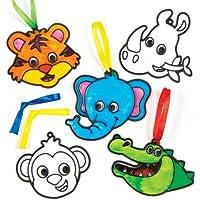 ジャングルの動物 サンキャッチャー デコレーション(8個入り)塗って飾って楽しいセット 子どもたちの簡単手作り、ディスプレイに