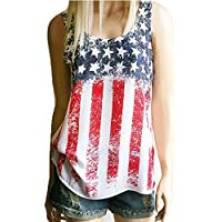 4th of July Stars and Stripes Print Tank Top Racerback Flag Prints Tank Vest Shirts Patriotic Clothes for Women