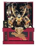 五月人形 兜 着用 収納 飾り 平安義正 盛上蒔絵 赤 炎龍 25号 h275-sssw-yo-red
