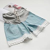 マタニティー ショットパンツ 妊婦ズボン ショート丈 ボトムズハイウェスト楽チンかわいいルームパンツ 大きいサイズ お出かけ おしゃれ サイズ調整可 (XL, ライトブルー)