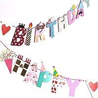 eZAKKA ハッピーバースデー ガーランド HAPPY BIRTHDYA バナー 筆記体 誕生日飾り付け 誕生日の飾りセット 装飾 バースデーパーティー 記念撮影に ピンク