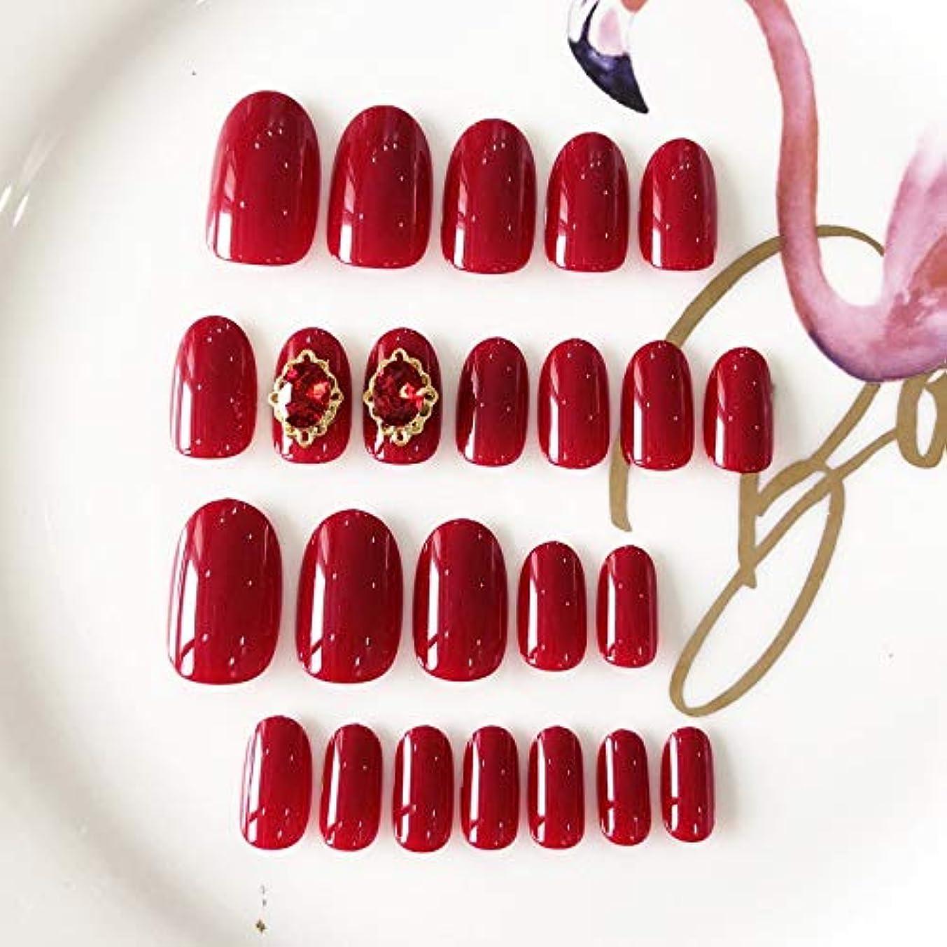 追う損失誰AFAEF HOME 24個の短い楕円形の偽爪12サイズ単色ワインレッドエレガントな偽爪結婚式