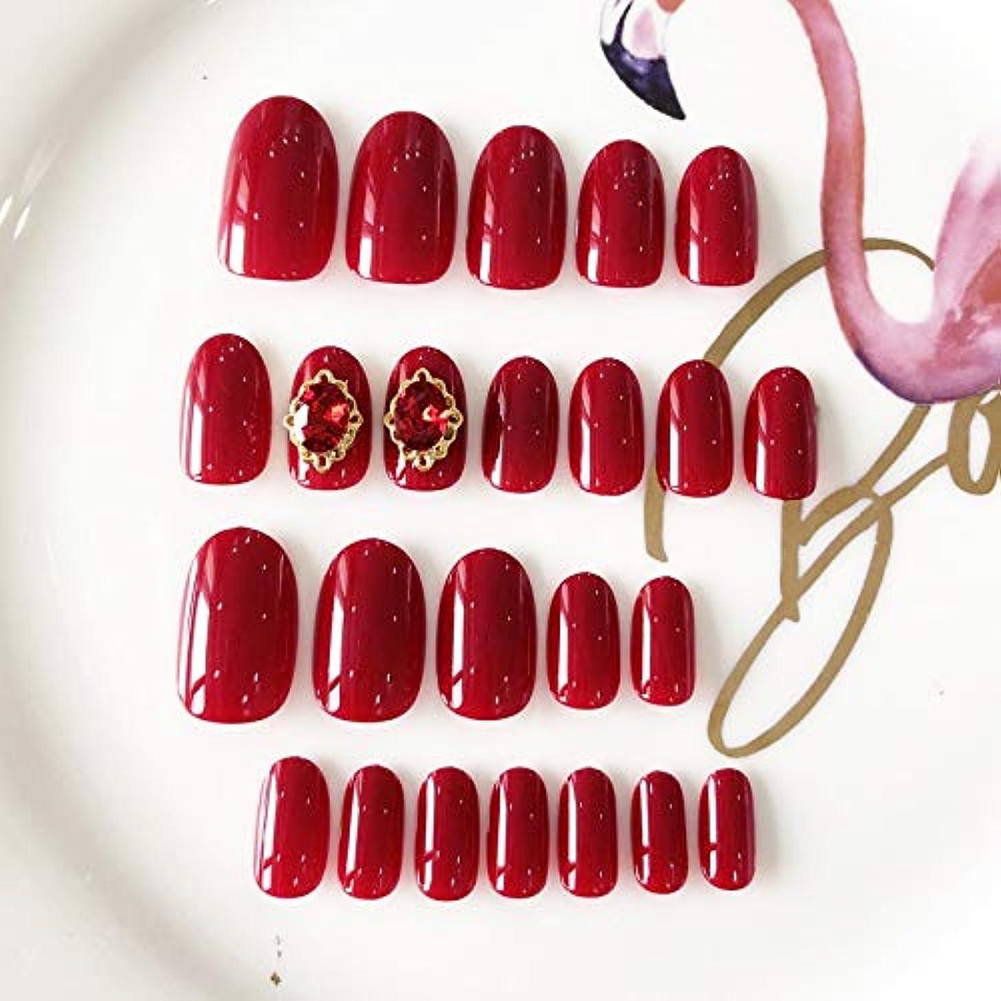 一回ながら意気消沈したXUANHU HOME 24個の短い楕円形の偽爪12サイズ単色ワインレッドエレガントな偽爪結婚式