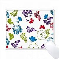 明るい青、赤、紫のバラと蝶の模様 PC Mouse Pad パソコン マウスパッド